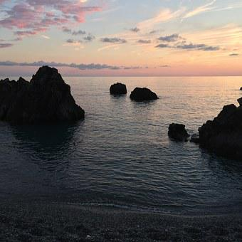 Sunset, Sea, Calabria-scalea, Sky, Horizon, Beach