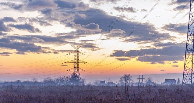 Sky, Electricity Poles, Noon, Power, Line, Pylon, Steel