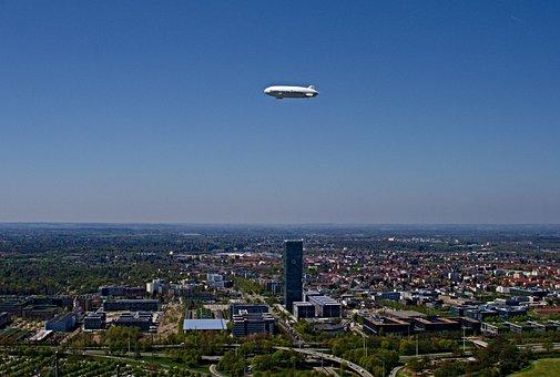 Zeppelin, Sueddeutsche, Munich, Olympic Park, Sky
