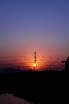Power, Sunset, Twilight, Transmission Line, Pylons