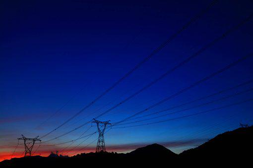 Power, Sunset, Twilight, Transmission Line