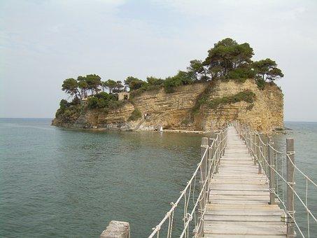 Zakynthos, Landscape, Island, Mountain, Water, Wooden