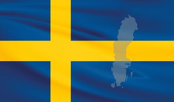Sweden, Flag, Banner, Blue, Yellow, Cross, Map, Outline