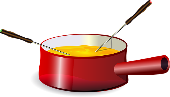 Fondue, Cheese, Pot, Pan, Melted, Red, Handle, Dipping