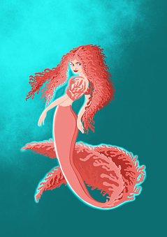 Mermaid, Sea, Fantasy, Woman, Ocean, Tales, Swim, Girl
