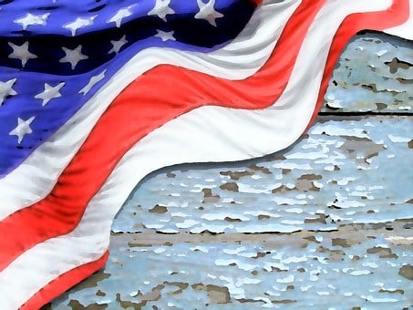 Flag, Watercolor, Painted, Wood, Usa, American, Banner