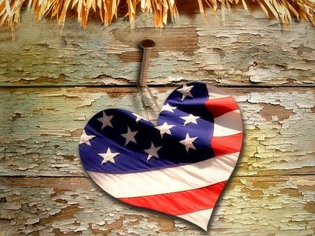 Heart, Straw, Wood, Flag, Usa, Background, American
