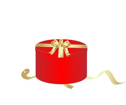 Gift Box, Gift, Box, Red, Round, Lid, Bow, Ribbon