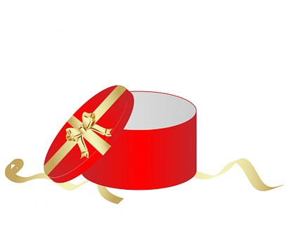 Gift, Box, Gift Box, Red, Round, Lid, Bow, Ribbon