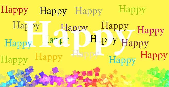 Word, Happy, Yellow, Colorful, Yellow Happy