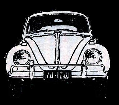 Vintage, Car, Watercolor, Beetle, Bug, Vintage Cars