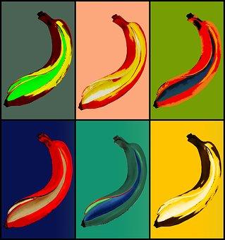 Banana, Pop Art, Drawing, Illustration, Multi Colored