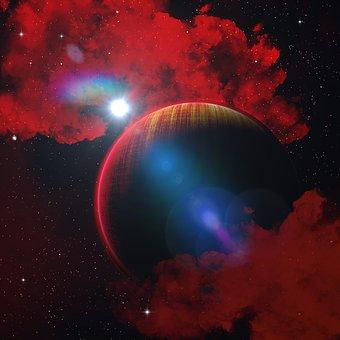 Planet, Red, Fantasy, Star, Cosmos