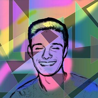 Laughter, Pop Art, Young Man, Face, Bright, Portrait