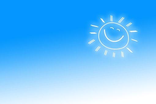 Sun, Smile, Joy, Positive, Laugh, Rays, Lights, Blue