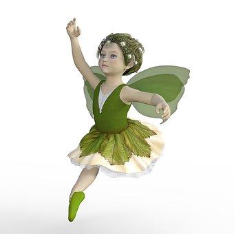 Fairy, Ballerina, Green, Dancing, Child, Fantasy