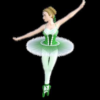 Green, Ballet, Dancer, Girl, Grace, Dance, Beauty