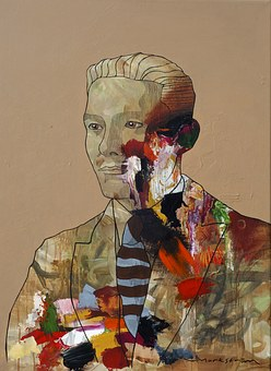 Portrait, Painting, Man, Angst, Creative