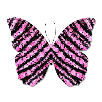 Pink, Black, Zebra Print, Abstract, Butterfly