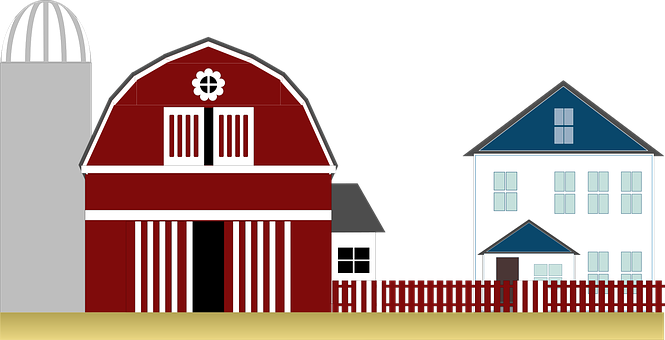Graphic, Red Barn, Farm, Country, Rural, Landscape