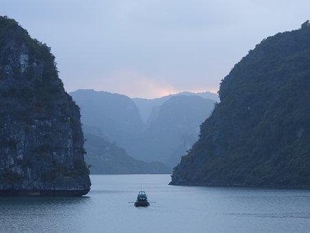 Vietnam, Halong Bay, Bay, Ship, People