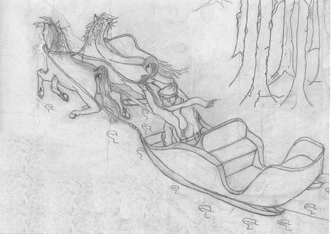 Snow, Privacy, Troika, Pencil, Drawing