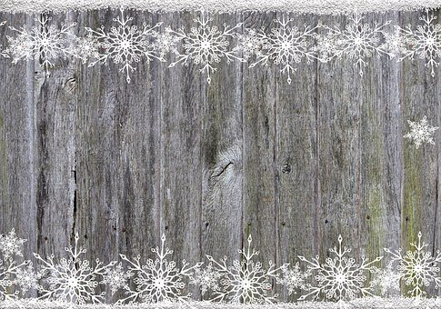 Background, Wood, Snowflakes, Frame