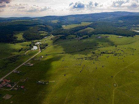 Field, Sky, Drone, Aerial, Landscape, Green, Grass