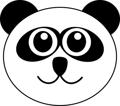Panda, Bear, Animal, Cute, Cartoon, Face, Head, Smile