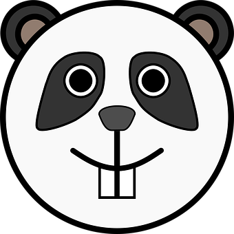 Head, Circle, Panda, Animal, Smile, Teeth