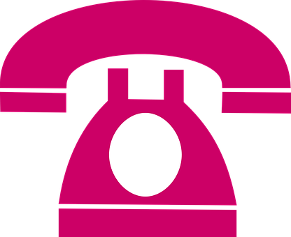 Telephone, Dial Plate, Retro, Pink, Silhouette