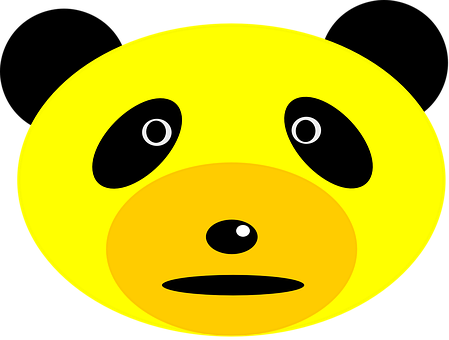 Panda, Bear, Face, Head, Animal, Mammal, Yellow