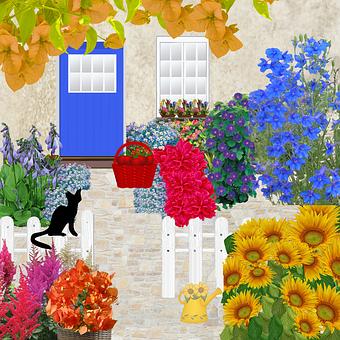 Door, Window, Flowers, Garden, House, Facade