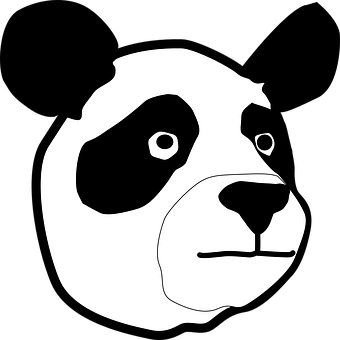 Bear, Panda, Face, Head, Black And White, Animal