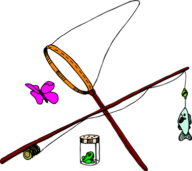 Butterfly, Fish, Net, Insect, Fishing, Jar, Pole