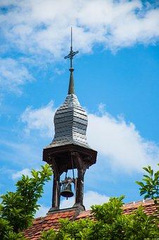 Bell, Bell Tower, Tower, Sky, Blue, Bush, Church
