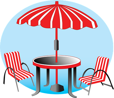 Beach, Umbrella, Chairs, Vacation, Red