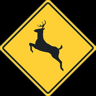 Traffic Sign, Road Sign, Caution, Deer, Deer Crossing