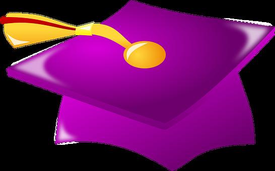 Graduation Cap, Tassel, Cap, Violet, Hat