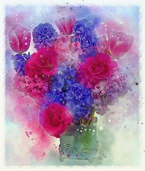 Rose, Hyazinth, Tulip, Blue, Red, Flowers, Plants