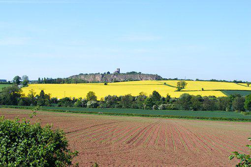 Landscape, Breedon, Fields, Sky, Church, Derbyshire