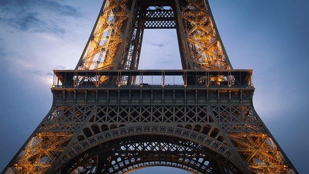 France, Paris, Eiffel, Tower, Evening, Lights, Tourism