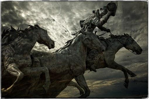 Horses, Rider, Statue, Textured, Grungy, Creative