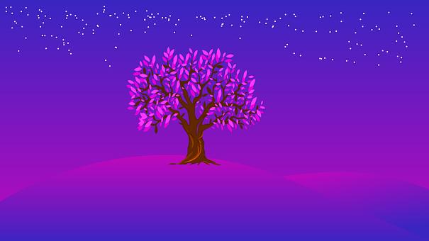 Night, Stars, Sky, Tree, Nature, Dark, Purple
