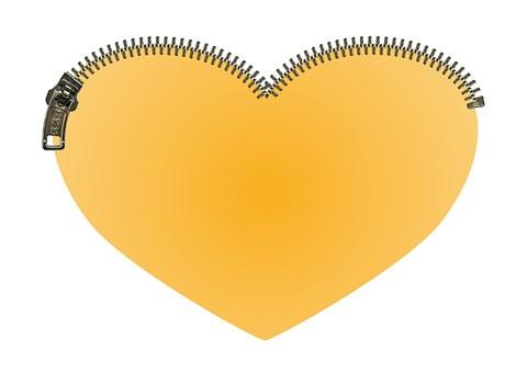 Heart, Zipper, Zip, Yellow, Love, Close, Safe