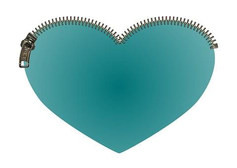 Heart, Zipper, Zip, Green, Teal, Love, Close, Safe