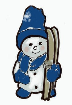Snowman, Scarf, Winter, Ski, Blue, White, Sketch, Cap