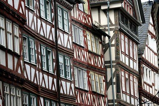 Houses, Truss, Fachwerkhäuser, Hesse, Herborn, Germany