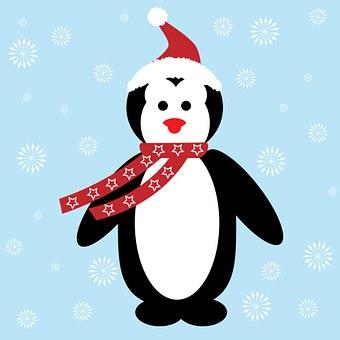 Christmas, Penguin, Santa Hat, Hat, Scarf, Snowflakes