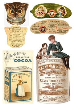 Labels, Vintage, Food, Products, Collage, Scrapbooking